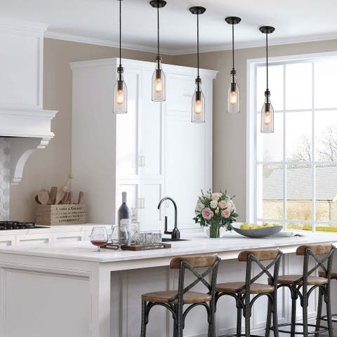 "1-light Clear Glass Kitchen Island Pendant Lights for Dining Room - D5"" x H11.2"""