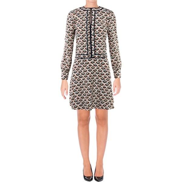 60ccc20405f Shop Tory Burch Womens Nicoletta Mini Dress Pattern Contrast Trim ...