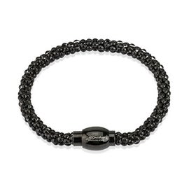 Stainless Steel Black Plated Hollow Bubble Chain Link Bracelet (6 mm) - 8.25 in