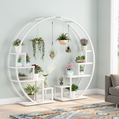 Plant Stand with 6 Hooks, 5-Tier Modern Indoor Flower Display Rack , 2 Pack
