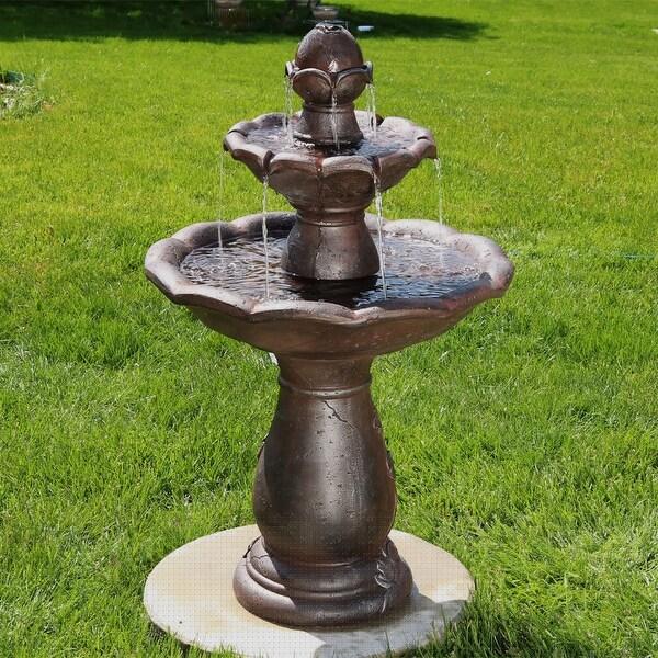 Sunnydaze Flower Spout Top 2-Tier Garden Outdoor Water Fountain - 32-Inch