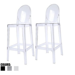 """2xhome - Set of 2 Clear Modern 30"""" Seat Bar Stool Counter Height With Back Plastic Chairs For Home Restaurant Office"""