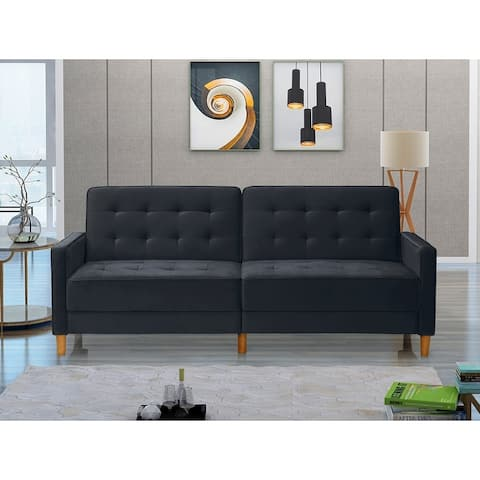 Modern Velvet Upholstered Sofa Bed With Square Arms