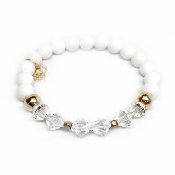 "White Jade & Crystal Chloe 7"" Bracelet"