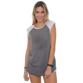 Women's 2 Tone Sleeveless Shirt Heather Radiant Colors Workout Gym Juniors Top
