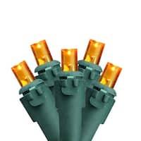 Set of 60 Amber-Orange LED Wide Angle Christmas Lights - Green Wire - Orange