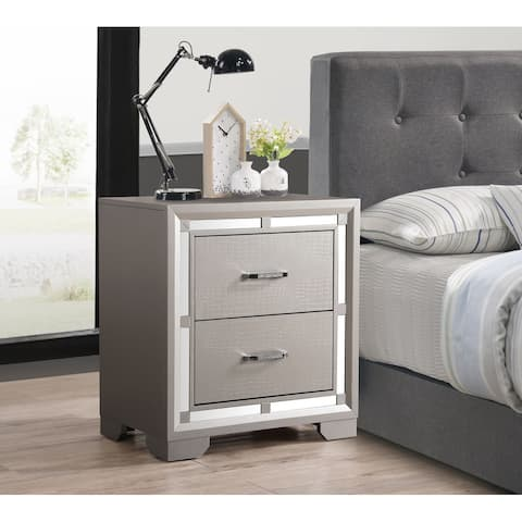 Alana Nightstand with Croc Finish, Silver Champagne