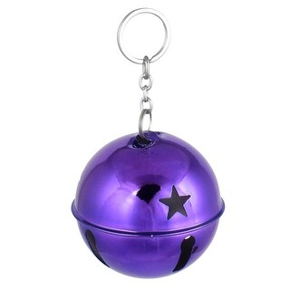 80mm Dia Purple Metal Keychain Hollow Design Ring Bell Decor for Christmas Purse