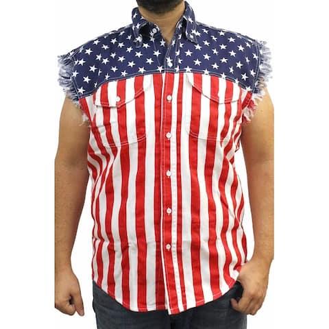 USA Flag Men's Sleeveless Denim Shirt Stars & Stripes Red White Blue Biker