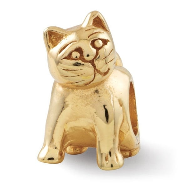 Sterling Silver Reflections Gold-plated Cat Bead (4mm Diameter Hole)