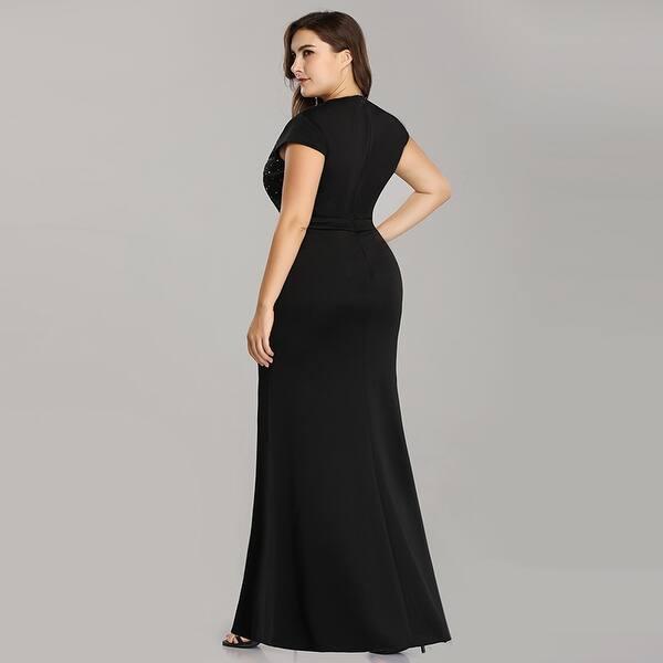 Shop Ever-Pretty Women\'s Plus Size Bodycon Cap Sleeve Beaded ...