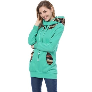Unique Bargains Women's Long Sleeve Drawstring Hoodie Cyan Blue (Size XS / 2)