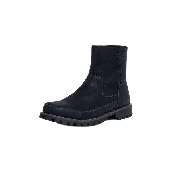 Muk Luks Boots Mens Dennis Zip Durable Rubber Sole Black