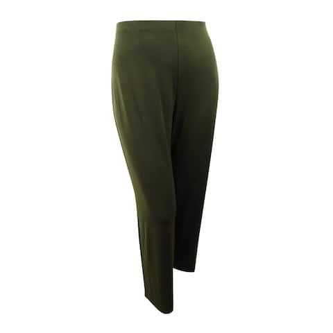 Alfani Women's Plus Size Wide Leg Jersey Pants (3X, Autumn Moss) - Autumn Moss - 3X