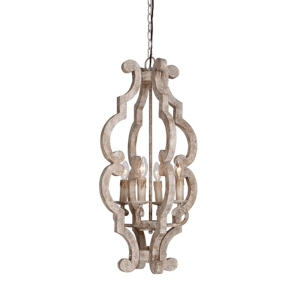 Farmhouse Entryway Chandelier: Shop Farmhouse Foyer 4-Light Distressed Wood Chandelier