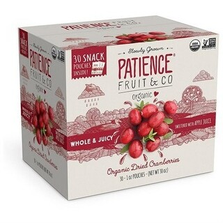 Patience Fruit & Co. Organic Dried Cranberries Glutten Free 30 1-oz. Pouches