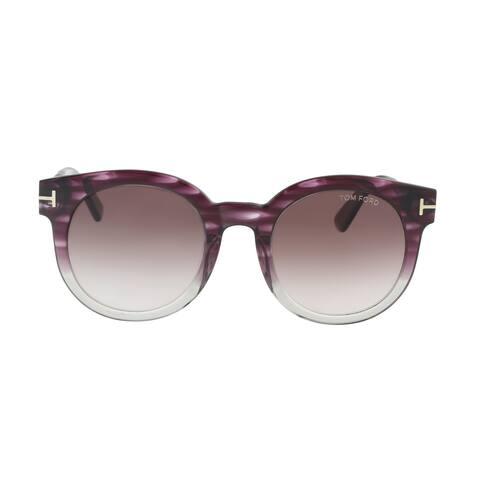 Tom Ford FT0435 83T JANINA Purple/Gray Round Sunglasses - 51-22-140