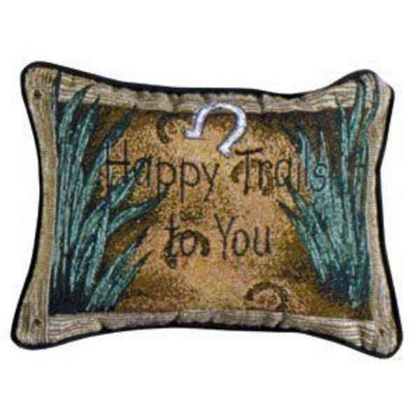 "Set of 2 ""Happy Trails To You"" Accent Throw Pillows 9"" x 12"""