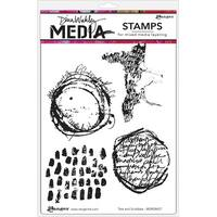 "Dina Wakley Media Cling Stamps 6""X9""-Text & Scribbles"