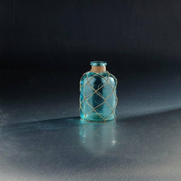 "7"" Translucent Blue Glass Bottle Vases with Rope Net - N/A"
