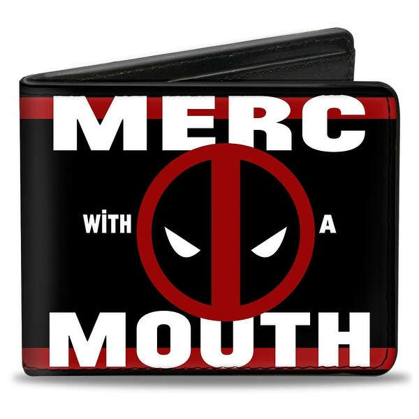 Marvel Universe Deadpool Logo Merc With A Mouth Stripe Black Red White Bi Bi-Fold Wallet - One Size Fits most