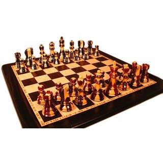 Inlaid Russian Chess Set With Ebony Board - Multicolored