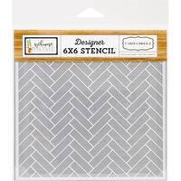 """Carta Bella Stencil 6""""X6""""-Chevron Tile"""