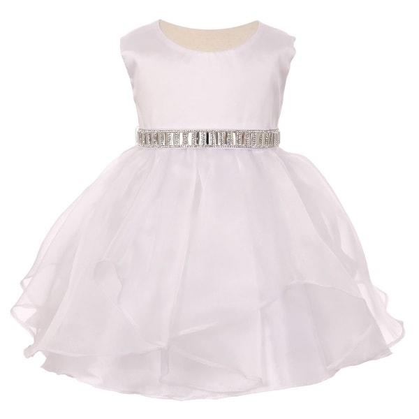 Baby Girls White Organza Taffeta Rhinestone Cascade Occasion Dress 6-24M
