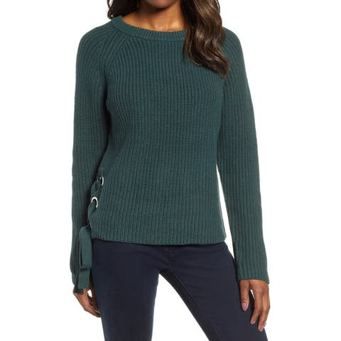Kut from the Kloth Womens Sweater Green Size Medium M Pullover Lace-Up