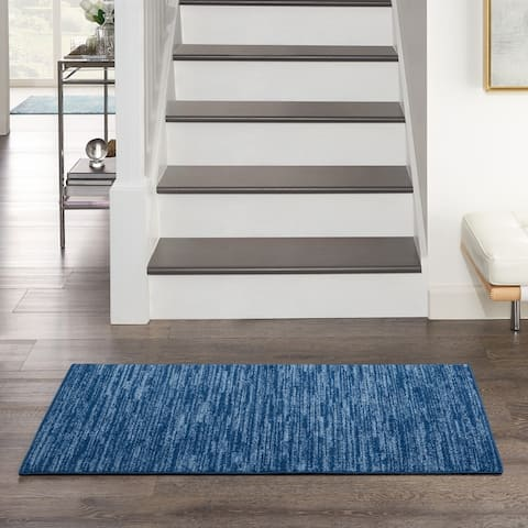 Nourison Essentials Solid Striated Contemporary Area Rug