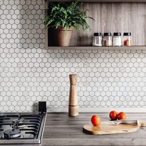 SomerTile 11.125 x 12.625-Inch Flo 2-Inch Hex White Porcelain Mosaic Floor and Wall Tile (10 Tiles/9.96 sqft.)
