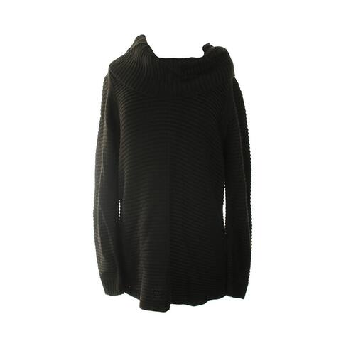 Calvin Klein Black Ribbed Cowl-Neck Sweater L