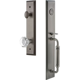 """Grandeur FAVCGRCHM_ESET_238  Fifth Avenue Solid Brass Rose Keyed Entry Single Cylinder """"C"""" Grip Handleset with Chambord Crystal"""