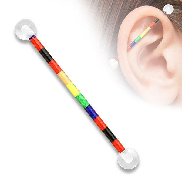 Rainbow Pattern Printed over Surgical Steel Industrial Barbell with Clear UV Balls (Sold Individually)