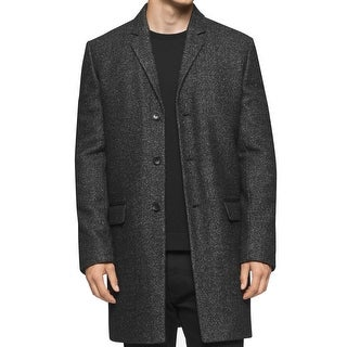Calvin Klein NEW Black Mens Small S Heather Slim Fit Three Button Coat