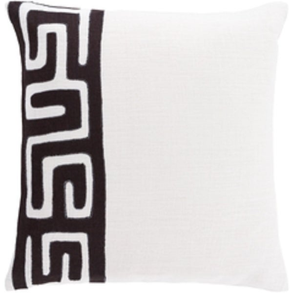 """18"""" Tribal Rhythm Outer Space Black and Piano Key White Woven Decorative Throw Pillow-Down Filler"""