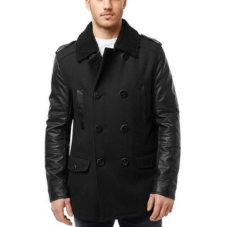 Buffalo Jitmo Peacoat Small Black Sherpa Collar and Faux Leather Sleeves