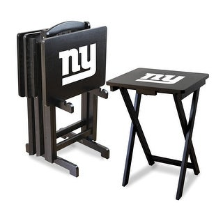 Official Licensed New York Giants NFL Football TV Snack Trays with Storage Racks (Set of 4)