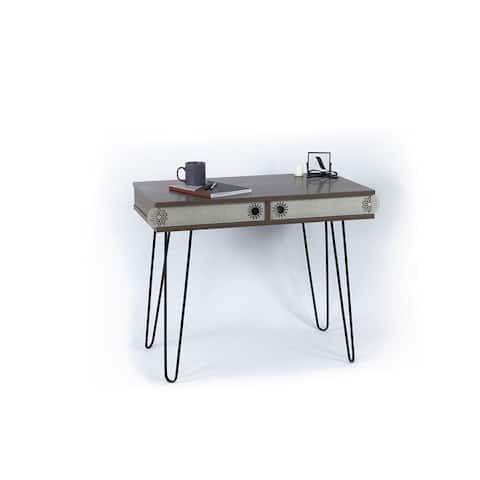 2-Drawers Wood Study Desk Metal Legs Study Desk