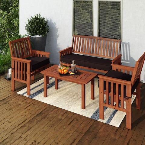 CorLiving Miramar Natural Hardwood Outdoor Patio Set, 4pc