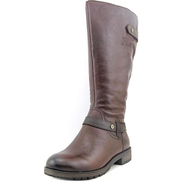 Naturalizer Tanita Wide Calf Women W Round Toe Leather Brown Knee High Boot