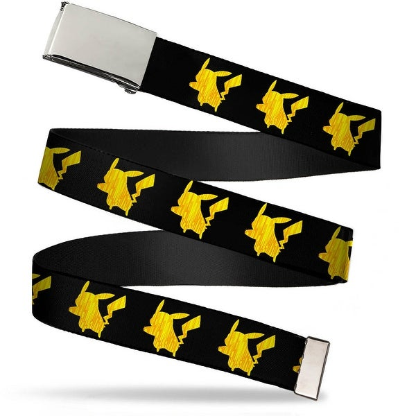 "Blank Chrome 1.0"" Buckle Pikachu Silhouette Black Yellows Webbing Web Belt 1.0"" Wide - S"