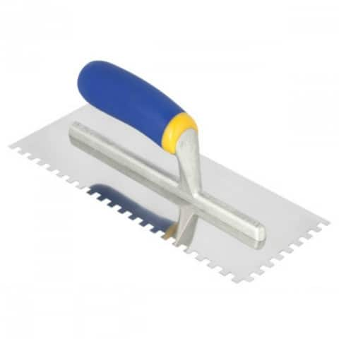 "QEP 49916Q Stainless Steel Notched Trowel, Longer Shank w/9 Rivets, 1/4"" x 3/8"""