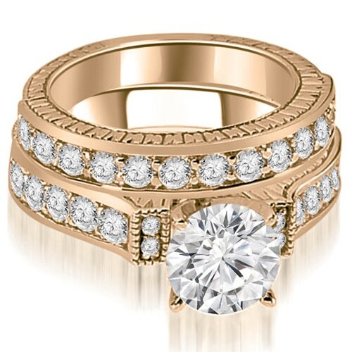 2.15 cttw. 14K Rose Gold Antique Round Cut Diamond Bridal Set