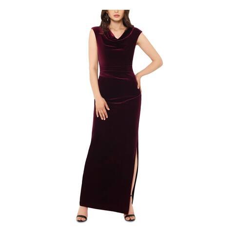 XSCAPE Burgundy Cap Sleeve Full-Length Dress 16W