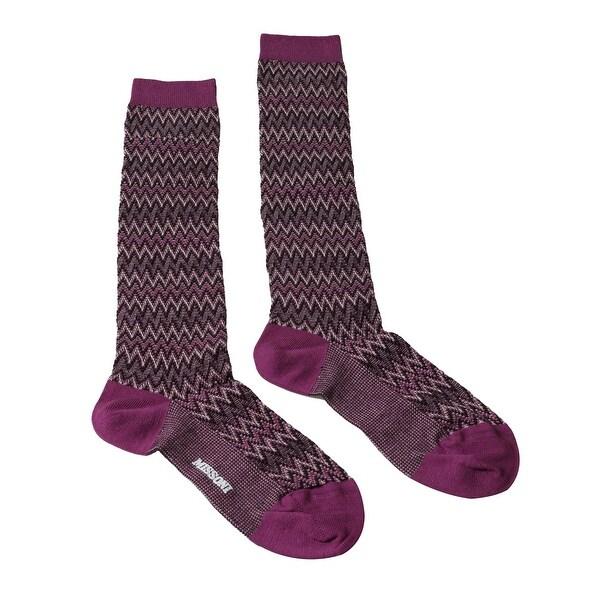 Missoni GM00CMD4597 0003 Purple/Black Boot Socks - M