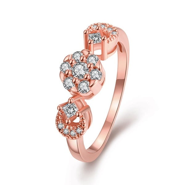 Swirl Ring with Pave' Rose Gold Crystal Ring