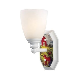 Landmark Lighting 60060-1 Kids / Youth 3 Light Up Lighting Wall Sconce with Barnyard Design from the Kidshine Collection