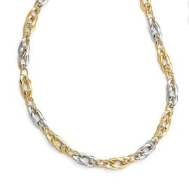 Italian 14k Two-Tone Gold Polished and Textured Fancy Link Necklace - 17.5 inches|https://ak1.ostkcdn.com/images/products/is/images/direct/82a2c3152cb24c2b1fd3714b9f753f14fc203b18/844960/Italian-14k-Two-Tone-Gold-Polished-and-Textured-Fancy-Link-Necklace---17.5-inches_270_270.jpg?impolicy=medium