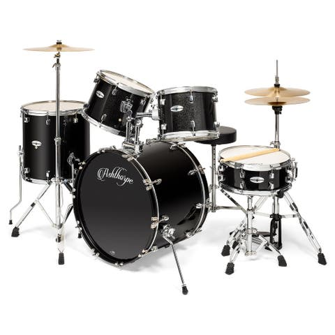 Adult Drum Set with Remo Heads & Brass Cymbals (Set of 5) by Ashthorpe
